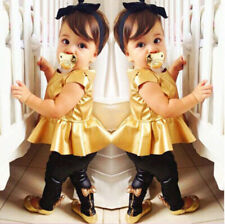Fashion Kids Baby Girls Toddler Shirt Dress + Legging Pants Set Clothes Outfits