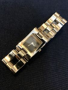4954fb5a100 Women s GUCCI 2305L Stainless Steel Rectangle Case Link Wrist Watch ...