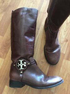 ba08a9d1a0f1 Image is loading Tory-Burch-Brown-Cognac-Knee-High-Leather-Riding-