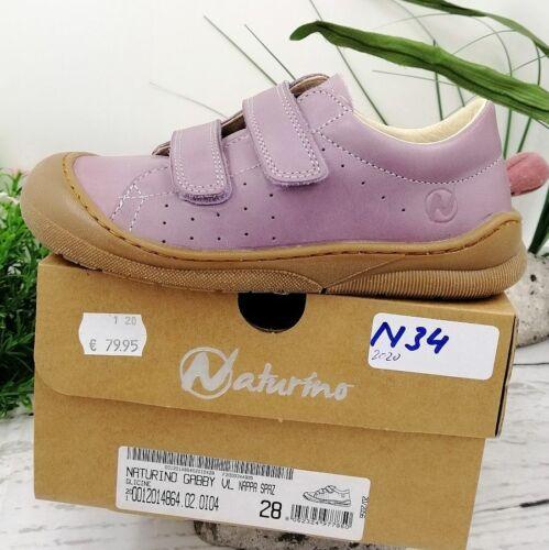 NATURINO GABBY VL Gr Mädchen Schuhe Sneaker Leder Klett Lila NEU OVP 29