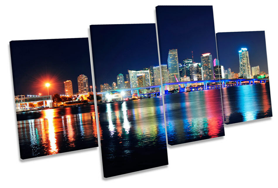 Foto de de Miami Florida Noche Horizonte de de LONA pared arte impresión de múltiples 68dba4