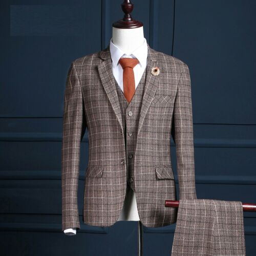 Men Brown With Strip 3 Piece Formal Suit Groom Tuxedos Wedding Suit Custom Made