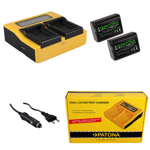 2x Batteria Patona Premium caricabatteria rapido DUAL LCD per Sony NP-FW50