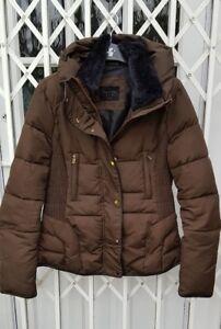 con kaki Zara colletto maglina M marrone taglia Splendido cappuccio 10 Vgc anorak in pelliccia Cappotto di in vqdIY