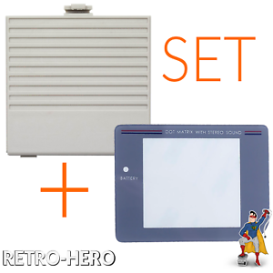 Set-fuer-Game-Boy-Classic-Batteriedeckel-Grau-Akku-Deckel-Klappe-Display-Scheibe