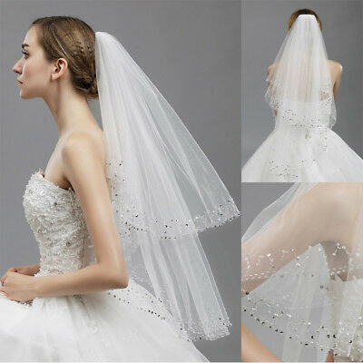 2T Crystal White Ivory Wedding Veils Cathedral Beaded Edge Comb Bridal Veil