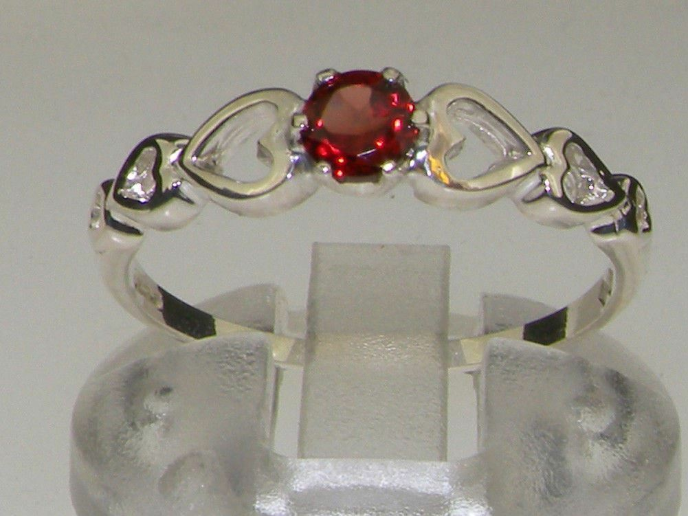 9ct White gold Natural Garnet Womens Solitaire Ring - Sizes J to Z