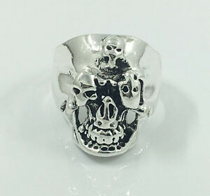 Vintage-Mens-Woman-316L-Stainless-Steel-Vogue-Design-Mini-Skull-Ring-Size-9