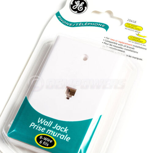 GE Phone Jack Wall Mount Plate Telephone Outlet 6-Wire Conductor RJ11 RJ12 White