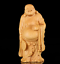 thumbnail 1 - Chinese Box-wood Hand Carving Happy Laugh Maitreya Buddha Hold Fan Stand Statue