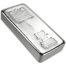100 oz. RMC Silver Bar - Republic Metals Corp (Pour) .999+ w/Serial #