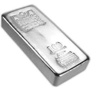 100 oz. RMC Silver Bar - Republic Metals Corp (Pour) .999+ w/Serial #