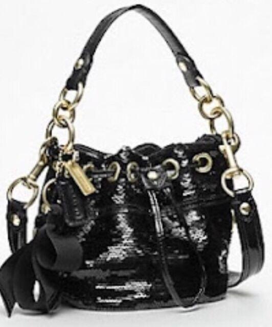 New Nwt Coach Sequin Poppy Cinch Black Drawstring Bag Pop Satchel 17906 Tote