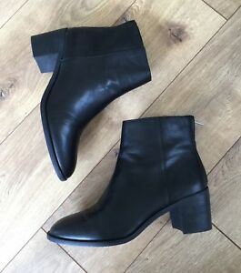 65c3cce5638 NEW Madewell Women's The Pauline Boot In Black Leather G8359 Sz 9 | eBay