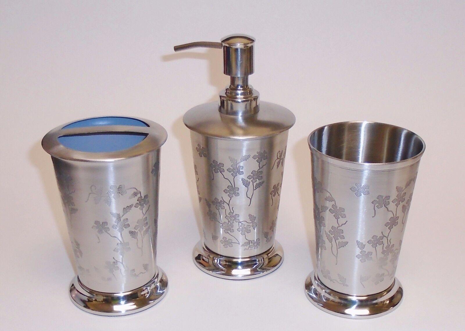 Neu 3 Stück Silberfarben Metall Metall Metall Blaumenmuster Seifenspender +Zahnbürsten Halter+ 7e6325