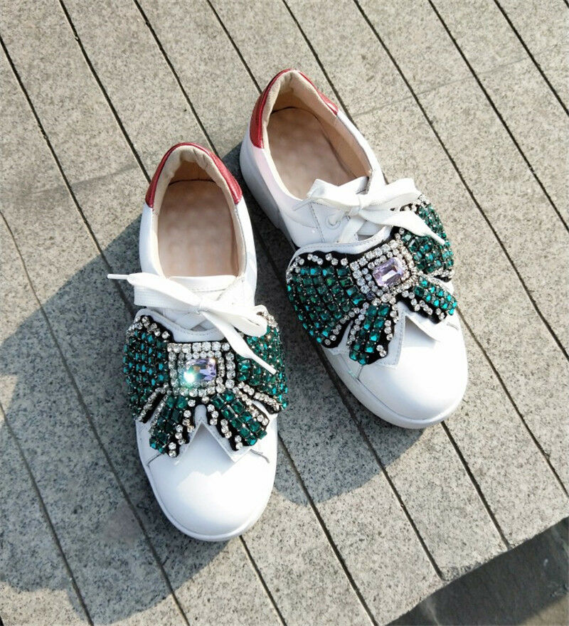 Womens Lace-up fashion sneakers Bowknot Rhinestone Low top flats casual shoes