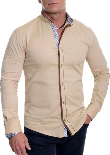 Men/'s Mandarin Collar Shirt Checkered Suede Elbow Patches Slim Fit Cotton White