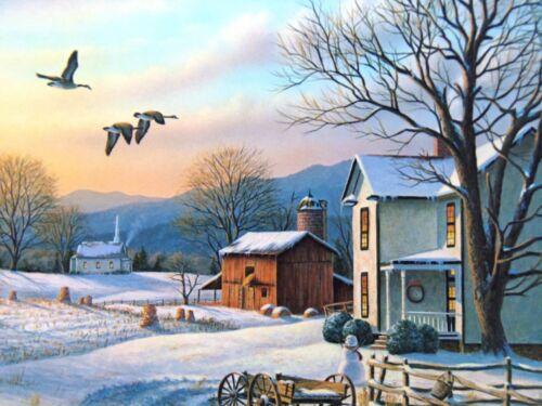 Edition S /& N  by Ron Louque Ltd December Evening Winter Scene Art Print