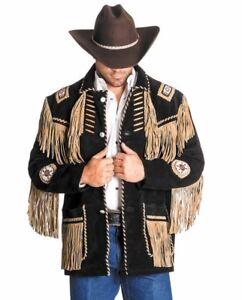 Men Black Skin Western Suede Leather Jacket Handmade Cowboy Fringe Suede Leather