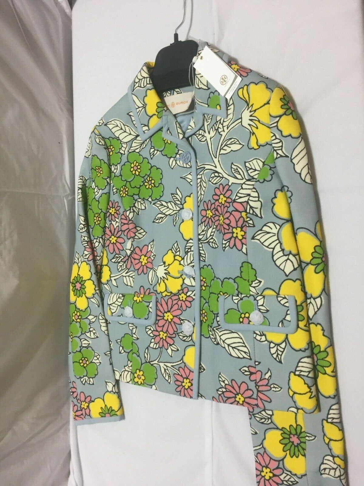 F01 TORY BURCH Blue Wallpaper Floral Twill Crepe Jacket Womens Size 6