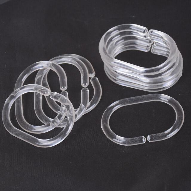 12pcs Plastic Clear C Type Bathroom Shower Curtain Liner Hook Hooks Rings p