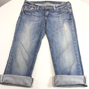 Big-Star-Women-039-s-jeans-Sweet-Boot-Cut-to-Capri-Frayed-Hem-Sz-30-waist
