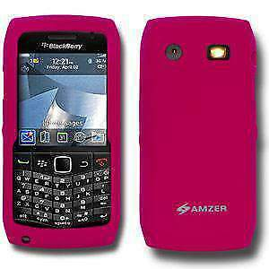 AMZER-Hot-Pink-Silicone-Soft-Skin-Back-Case-Cover-for-Blackberry-Pearl-9105-9100
