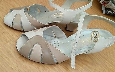 Wie Neu! Dorndorf Damen Schuhe 38 Sandalen creme Echtleder elegant Schick