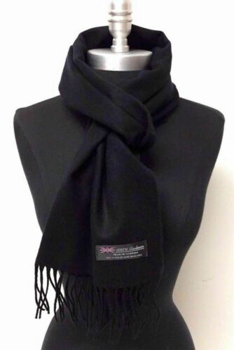 Hd Quality CASHMERE SCARF NECK WARMER SCOTLAND MADE SOLID BLACK SOFT FASHION