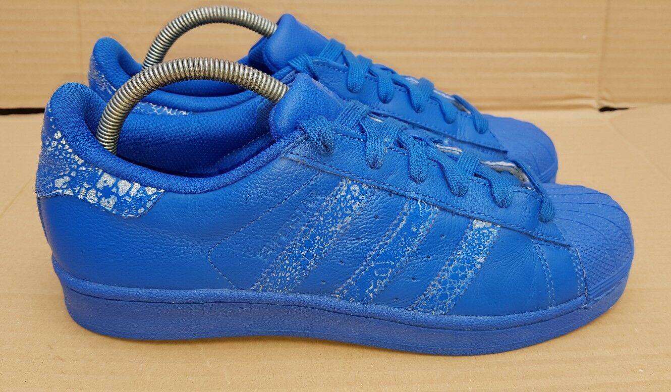 ADIDAS SUPERSTAR TRAINERS IN SIZE 6 UK blueE LEATHER REFLECTIVE EXCELLENT