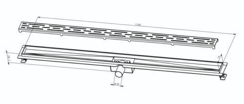 Edelstahl Duschrinne 60-120cm Siphon Dusch ablauf Ablaufrinne mit Rost Boden