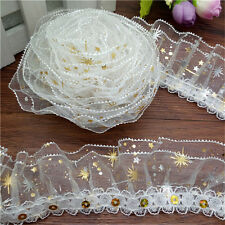 NEW 3 yards 3-Layer Golden Flower stars Lace Gathered Pleated sequined Trim MG31