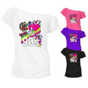 Femmes Je Love La Musique 90 S T Shirt Top Off épaule Pop Star Retro Tee 7522-afficher Le Titre D'origine
