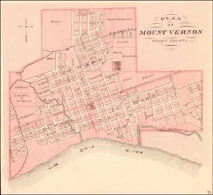 Mount Vernon Indiana Antique City Map Original Matted 1876 Ebay