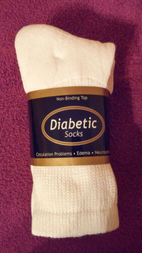 *** 3 pr size 9-11 *** Men/'s//Women/'s White Diabetic socks