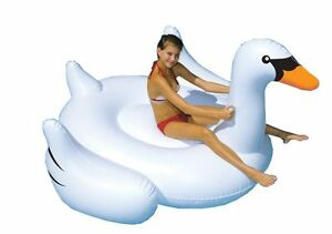 Swimline-90621-Giant-Swan-Inflatable-Ride-On-Swimming-Pool-Raft-Float-White