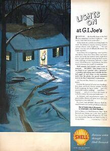 1946 Shell Vintage Print Ad Christmas Lights On At G.I. Joe's Dutrex Home Wife