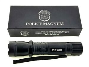 POLICE MAGNUM Black Rechargeable Metal Stun Gun 68,000,000 Volt with Flashlight