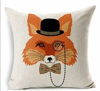 Animal Fashion Fox Head Cotton Linen Throw Pillow Case Cushion Cover Home Sofa D on Sale