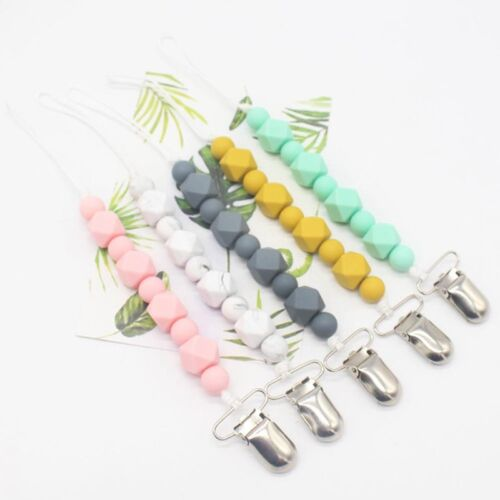 Baby Silicone Pacifier Clips Teething Chain Holder Clip Bead Dummy Holder  SALE!