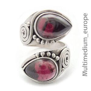 Silber-Ring-Granat-Tropfen-Spiral-e-silver-ring-garnet-drop-antik-Stil