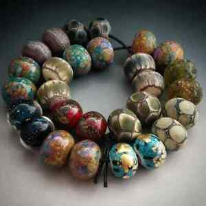 Naos-Glass-One-of-Each-Bead-Pair-Set-28-beads-Glass-Handmade-Lampwork-Beads-SRA