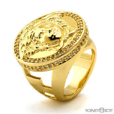 King Ice 14K Yellow Gold CZ Medusa Ring