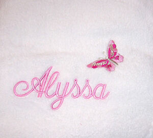 EMBROIDERED monogrammed PERSONALISED - Plush bath towel - Butterfly - XMAS!!