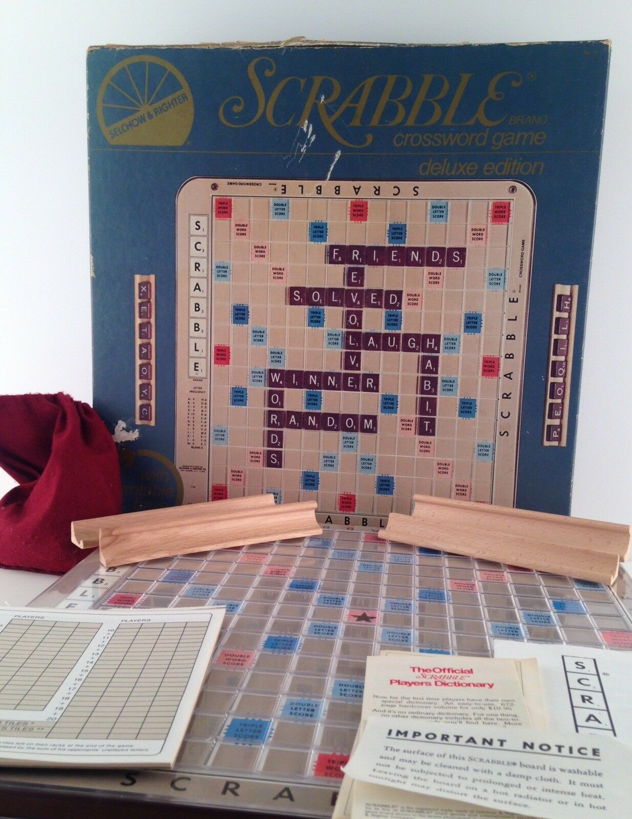Scrabble Crossword Deluxe Edition Edition Edition Turntable 1977 82 Made In USA Selchow Righter a7a237