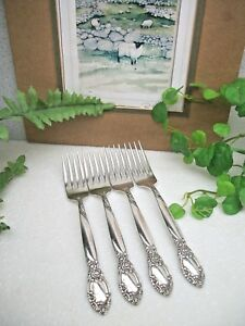 4-Oneida-Community-Silver-Country-Lane-BALLAD-Silverplate-Dinner-Forks-1953