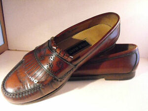Image is loading Smart-COLE-HAAN-Tobacco-Brown-Calfskin-Loafers-w-