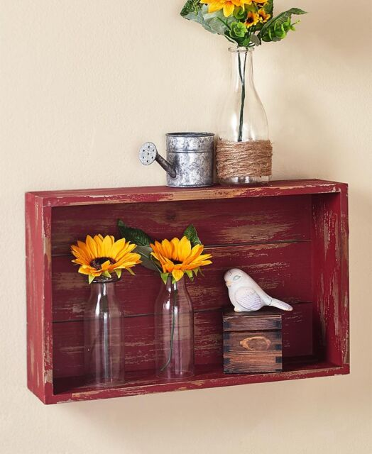 Rustic Distressed Red Wood Crate Wall