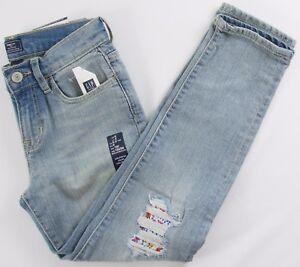 NWT Girls GAP Kids Girlfriend Denim Pants Jeans Destruction - 575698