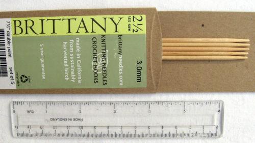 "Set of 5 7.5/"" BRITTANY Birchwood DPN Knitting Needles Assorted Sizes"